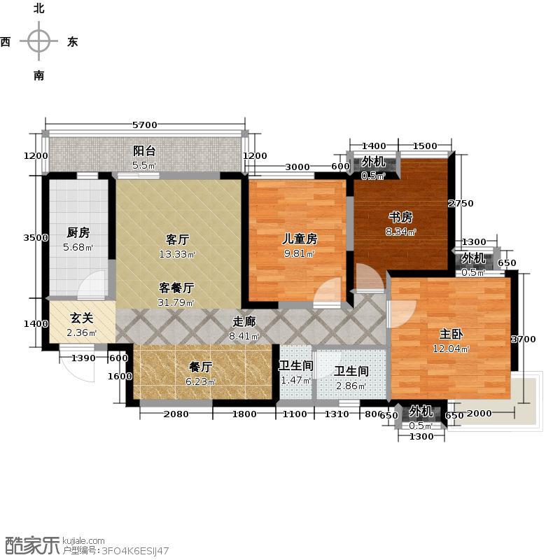阳光100国际新城108.00㎡三室两厅一卫户型3室2厅1卫