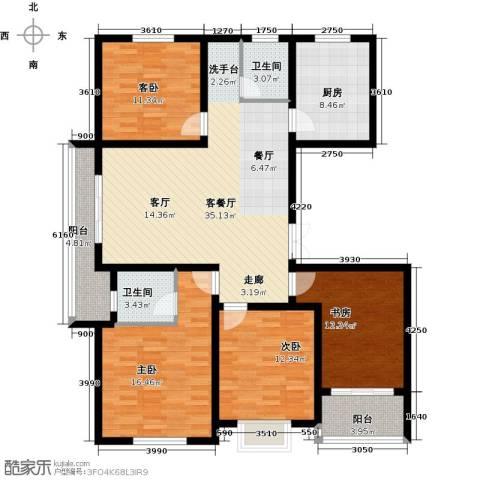 上书房4室1厅2卫1厨128.00㎡户型图