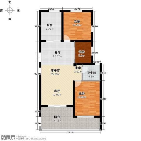 上书房3室1厅1卫1厨109.00㎡户型图