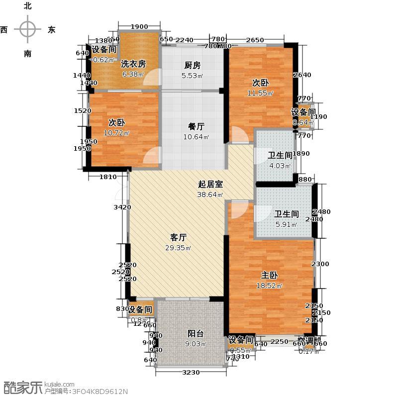 联诚国际城136.10㎡C2-B户型图 3室2厅2卫户型3室2厅2卫