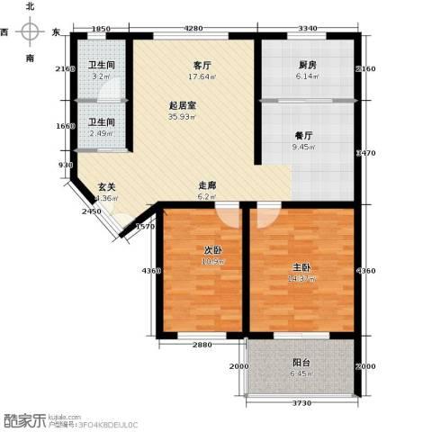 四季美景香樟雅郡2室0厅2卫1厨90.00㎡户型图