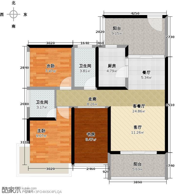 潜龙曼海宁(南区)8栋8-C3阳台户型3室1厅2卫1厨