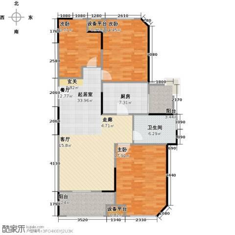 绿地世纪城3室0厅1卫1厨110.00㎡户型图