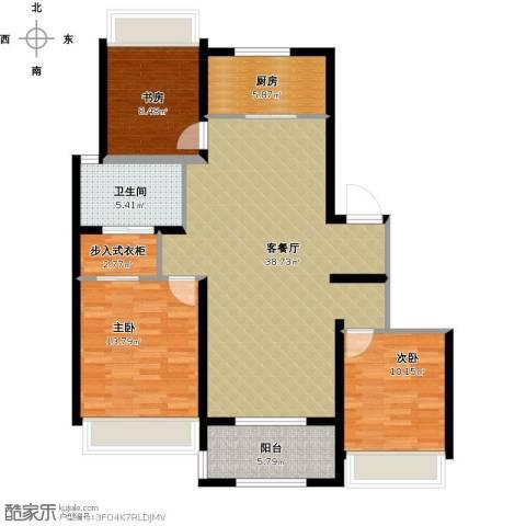 万科草庄西岸3室1厅1卫1厨129.00㎡户型图