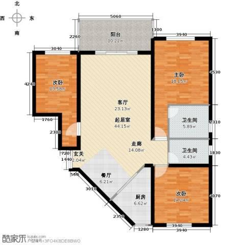 四季美景香樟雅郡3室0厅2卫1厨131.00㎡户型图
