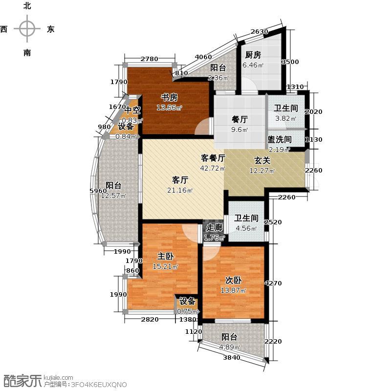 九洲新世界143.00㎡C1户型 3房2厅2卫户型3室2厅2卫