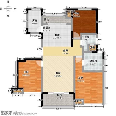 新力帝泊湾3室0厅2卫1厨118.00㎡户型图