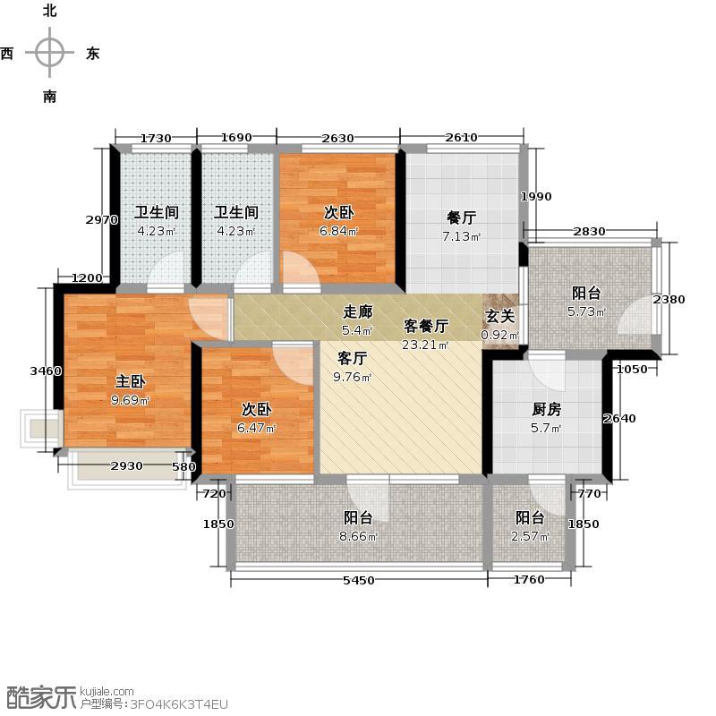 潜龙曼海宁(南区)8栋8-B3阳台8671-户型3室1厅2卫1厨