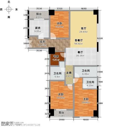 九洲新世界4室1厅3卫1厨165.00㎡户型图
