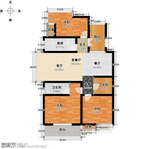 九洲新世界3室1厅2卫1厨119.00㎡户型图