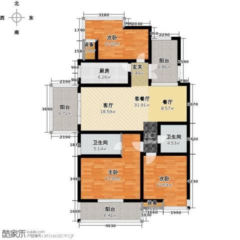 九洲新世界3室1厅2卫1厨131.00㎡户型图