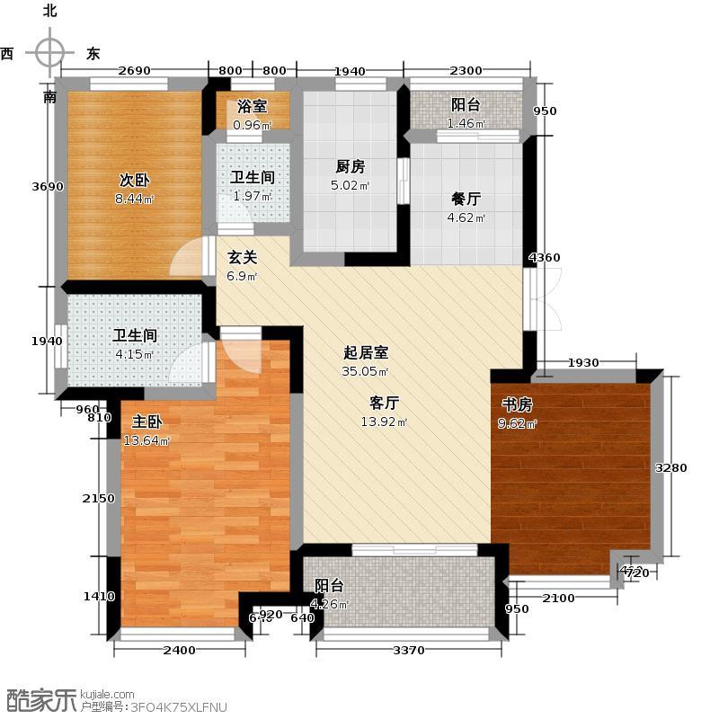 新力帝泊湾88.00㎡B1-2户型3室2厅2卫