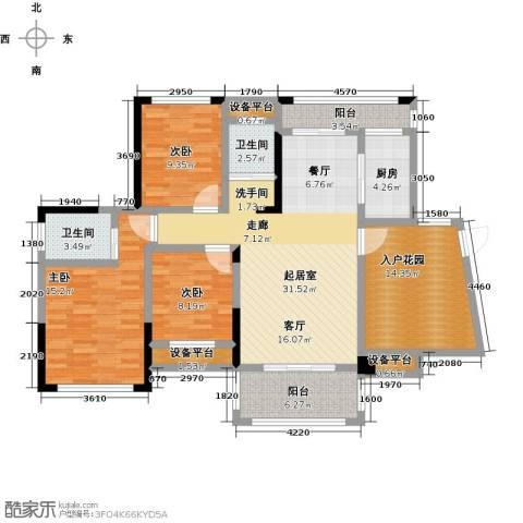 学府馨苑3室0厅2卫1厨119.00㎡户型图