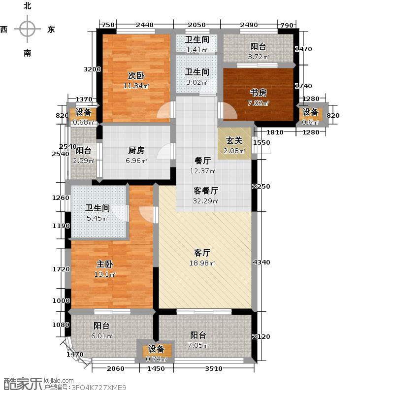 昆山颐景园119.00㎡119平米2+1房户型3室2厅2卫