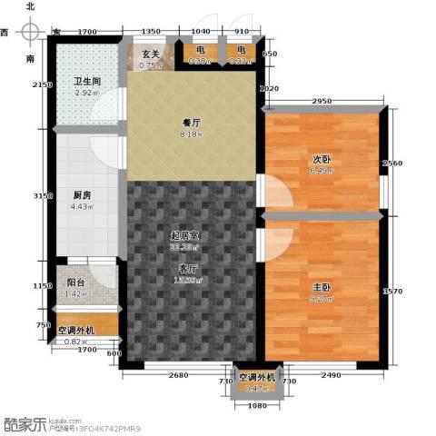 宝龙花苑2室0厅1卫1厨71.00㎡户型图