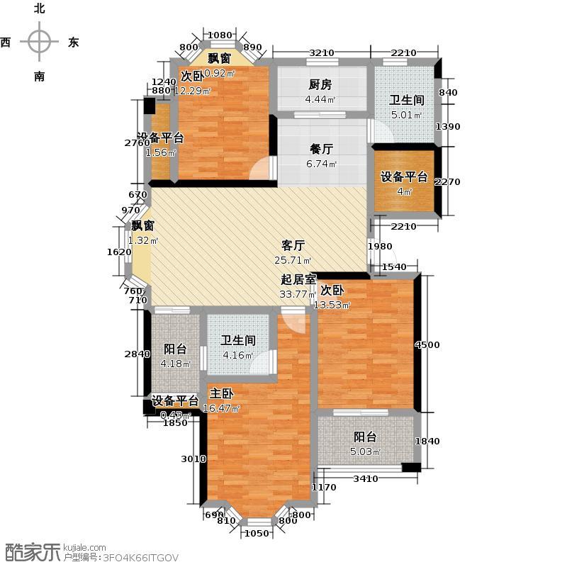 南天阳光123.46㎡南天阳光N07户型 三房两厅两卫 123.46平米 3室2厅2卫1厨户型