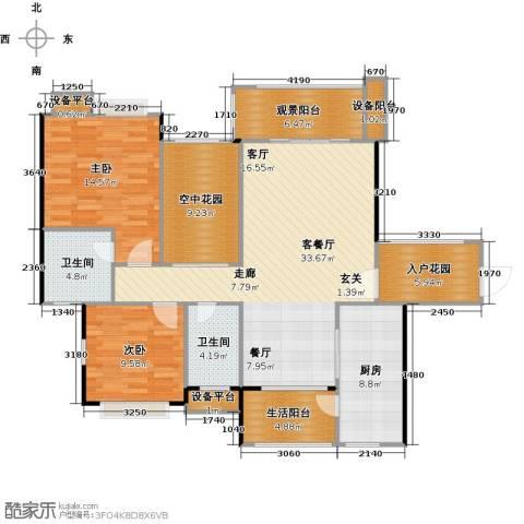 金地亚2室1厅2卫1厨120.00㎡户型图