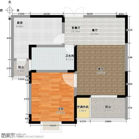 汇智・阳澄华庭1室1厅1卫1厨68.00㎡户型图