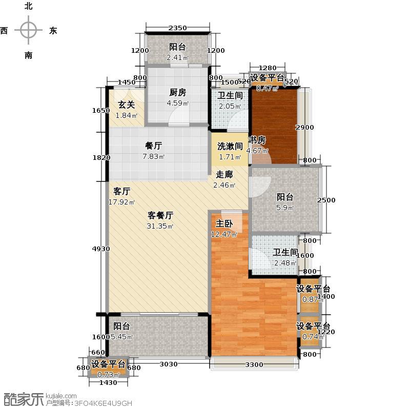 荣和大地G户型89平两房户型