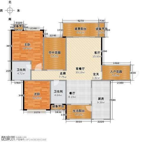 金地亚2室1厅2卫1厨113.00㎡户型图