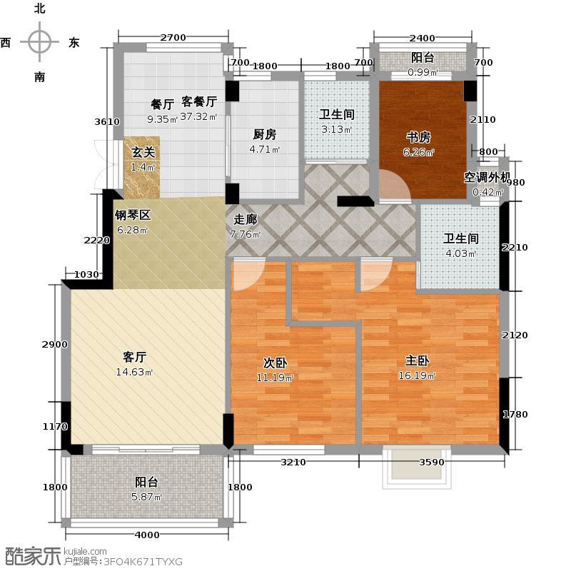 嘉业海棠湾103.06㎡E户型3室2厅2卫