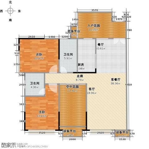 金地亚2室1厅2卫1厨124.00㎡户型图