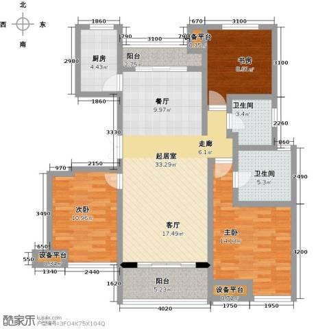新力帝泊湾3室0厅2卫1厨106.00㎡户型图