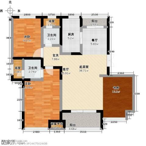 新力帝泊湾2室0厅2卫1厨97.00㎡户型图