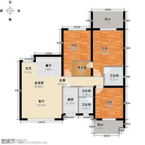 四季美景香樟雅郡3室0厅3卫1厨131.00㎡户型图