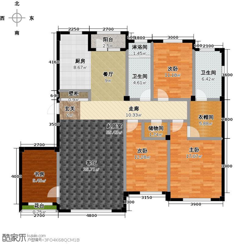 金石城155.00㎡D户型 四室二厅二卫户型4室2厅2卫