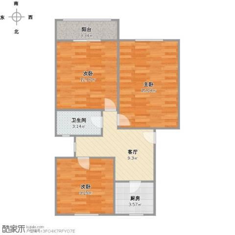汇成四村3室1厅1卫1厨75.00㎡户型图