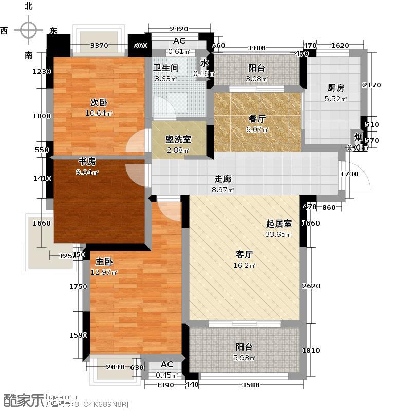绿地江西金融产业园108.00㎡瑶湖公馆A1户型3室2厅1卫