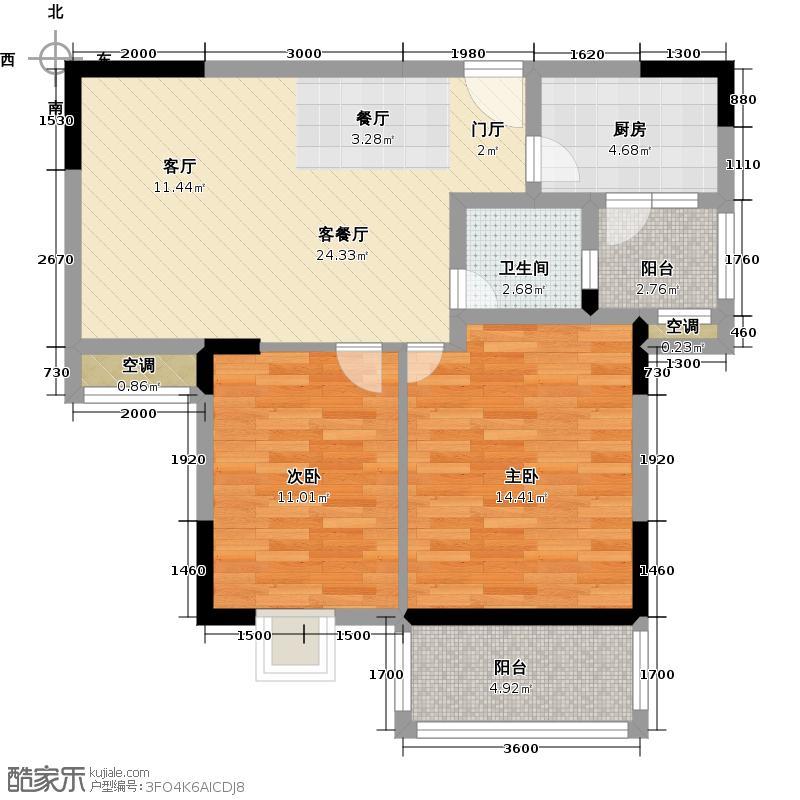 水榭湾86.89㎡D9户型2室2厅1卫