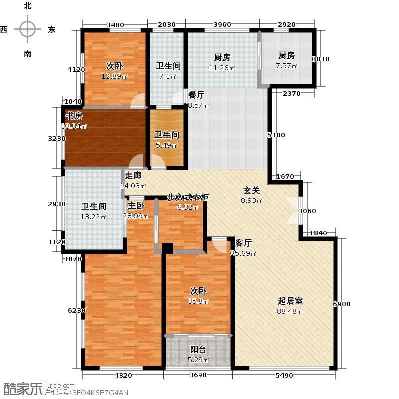 晋合公寓237.00㎡1#2#H户型4室2厅2卫