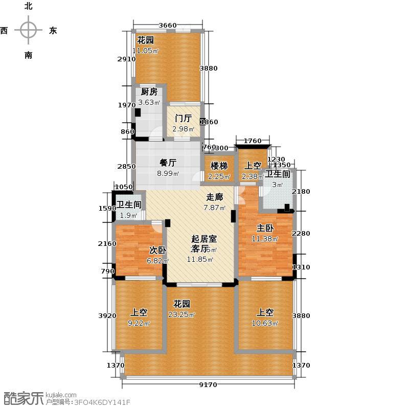 �锦世家135.00㎡洋房 两室两厅两卫户型2室2厅2卫