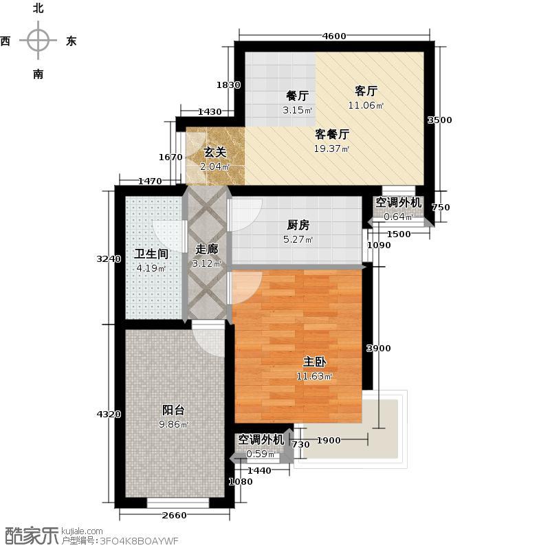 北京城建・红木林66.00㎡B4户型一室二厅一卫户型1室2厅1卫