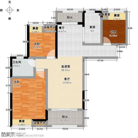 中央香榭3室0厅1卫1厨112.00㎡户型图