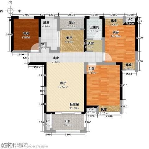 联发君悦湖3室0厅1卫1厨106.00㎡户型图