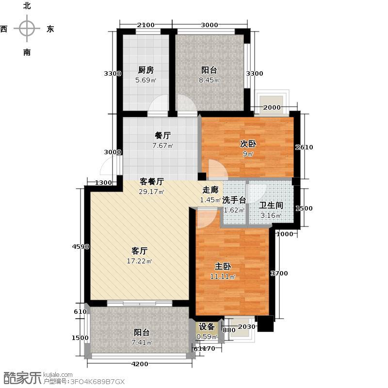 新宇拉菲公馆91.00㎡C户型2室2厅1卫
