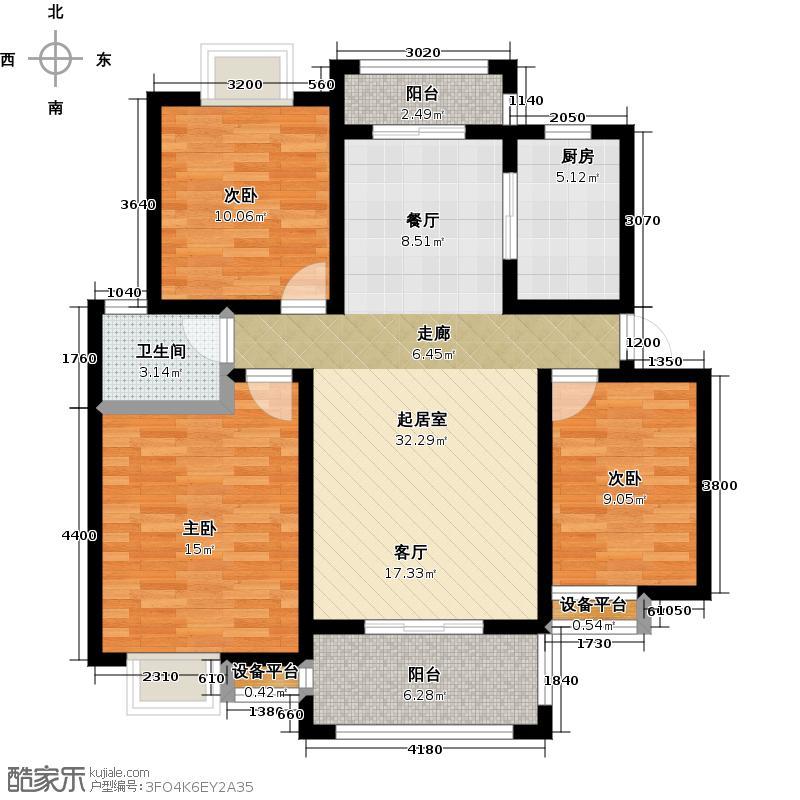 朗晴园98.55㎡三房二厅一卫户型