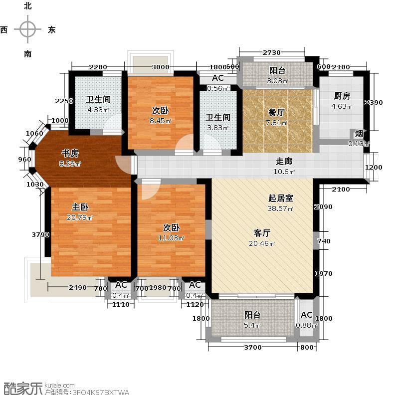 联发君悦湖134.00㎡B户型3室2厅2卫
