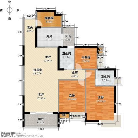 湖滨壹号3室0厅2卫1厨127.00㎡户型图