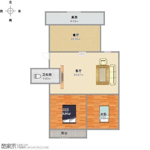 恒泰花园2室2厅1卫1厨128.00㎡户型图