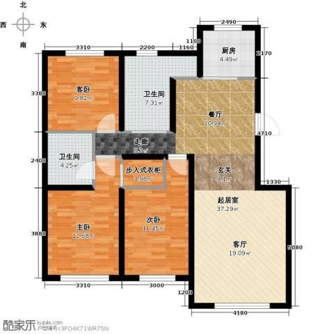 天富东苑3室0厅2卫1厨122.00㎡户型图