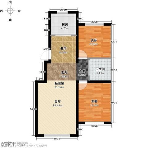 天富东苑2室0厅1卫1厨80.00㎡户型图