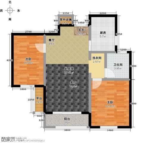 众益万国宫馆2室0厅1卫1厨86.00㎡户型图