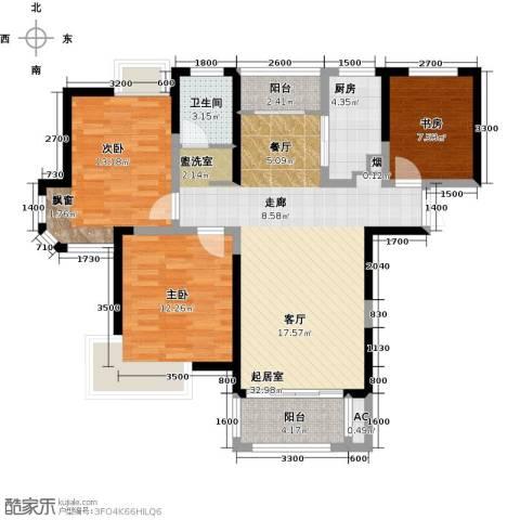 联发君悦湖3室0厅1卫1厨107.00㎡户型图
