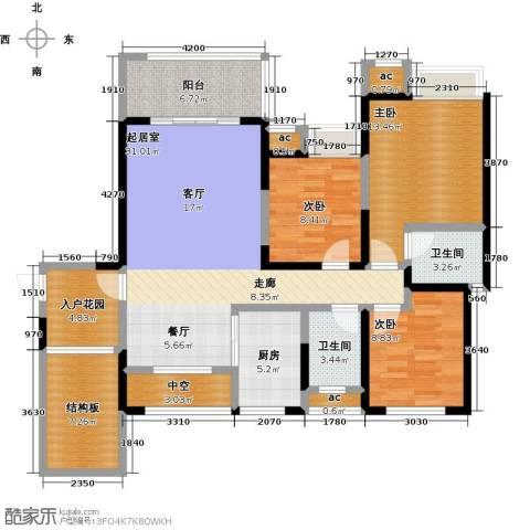 西城国际3室0厅2卫1厨142.00㎡户型图