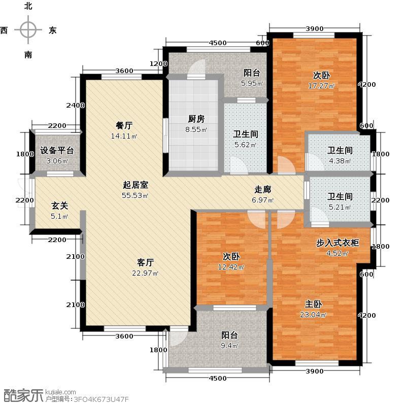 复地东湖国际177.00㎡户型御博户型3室2厅3卫QQ