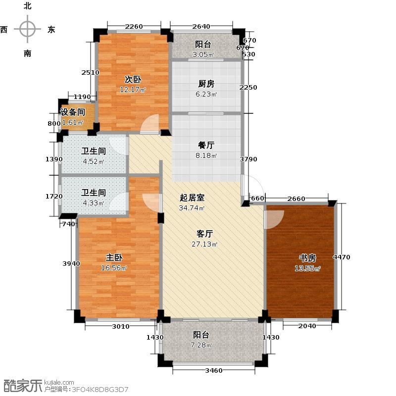 澳海澜庭113.98㎡A户型3室2厅2卫
